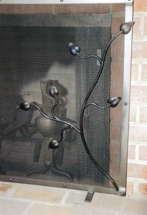 Steel fireplace screen (2) - Brentwood