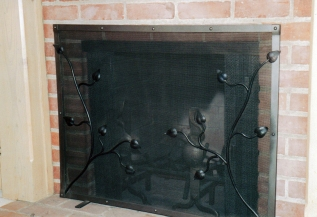Steel fireplace screen - Brentwood